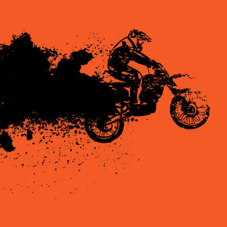 Vector automotive banner template. Grunge tire tracks background for landscape poster, digital banner, flyer, booklet, brochure and web design. Editable graphic image in black and orange colors.