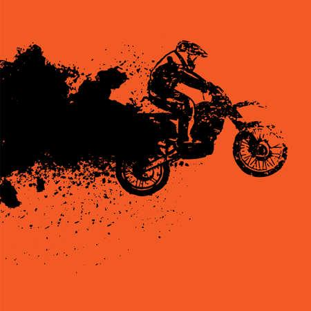 Sjabloon voor spandoek vector automotive. De band van Grunge volgt achtergrond voor landschapsaffiche, digitale banner, vlieger, boekje, brochure en Webontwerp. Bewerkbaar grafisch beeld in zwarte en oranje kleuren.