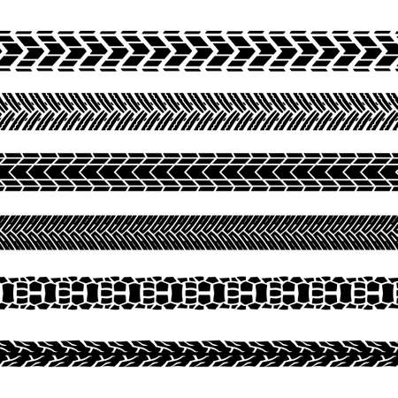 Motorcycle tire tracks vector illustration. Seamless automotive brushes useful for poster, print, flyer, book, booklet, brochure and leaflet design. Editable graphic image in black color.