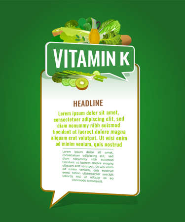 Vitamin K banner with place for text. Beautiful vertical vector illustration with caption lettering and top foods highest in vitamin K isolated on a bright green background. Useful design element. Illustration
