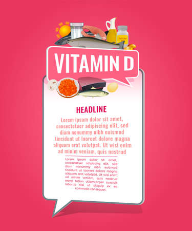 Vitamin D banner with place for text. Beautiful vertical vector illustration with caption lettering and top foods highest in vitamin D isolated on a bright pink background. Useful design element.