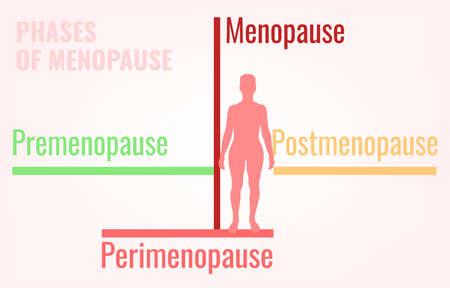 Stages of menopause simple medical infographic illustration. Ilustração