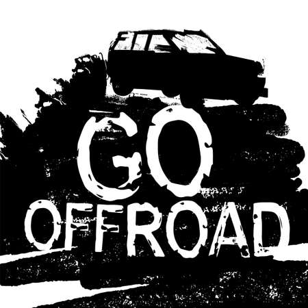 Go offroad lettering. Stamp words made from unique letters. Vertical vector illustration useful for poster, print and apparel design. Editable graphic element in white and black colours.
