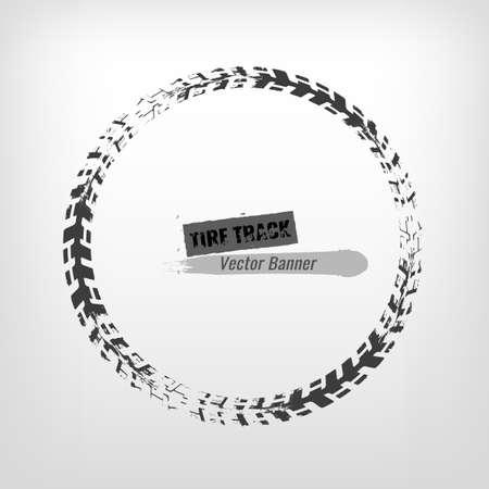 Tire track circle grunge frame. Digital vector illustration. Automotive background element useful for poster, print, flyer, book, booklet, brochure and leaflet design. Editable graphic image. Illustration