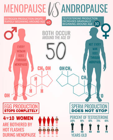 Menopause vs andropause. Main facts about men and women health. Beautiful vector illustration. Medical info-graphic with hormones molecular structure useful for educational poster graphic design. Vector Illustration
