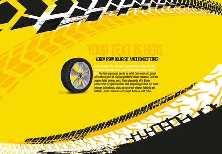 Plantilla de banner automotriz de vector. Neumático de Grunge rastrea fondos para póster de paisaje, pancarta digital, folleto, folleto, folleto y diseño web. Imagen gráfica editable en colores rojo y blanco.