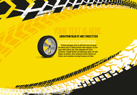 Vector automotive banner template. Grunge tire tracks backgrounds for landscape poster, digital banner, flyer, booklet, brochure and web design. Editable graphic image in red and white colors Çizim