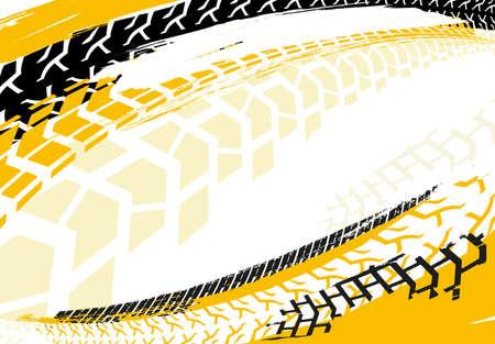 Plantilla de banner automotriz vector. Neumático Grunge rastrea fondos para póster de paisaje, banner digital, folleto, folleto, folleto y diseño web. Imagen gráfica editable en colores rojo y blanco. Ilustración de vector