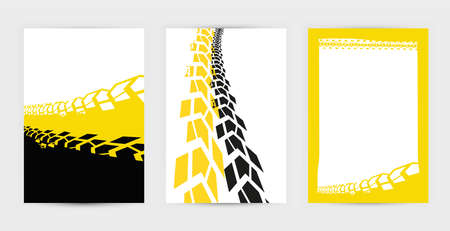 Vector automotive posters template. Grunge tire tracks backgrounds for landscape poster, digital banner, flyer, booklet, brochure and web design. Editable graphic image in black, yellow, white colors Illustration