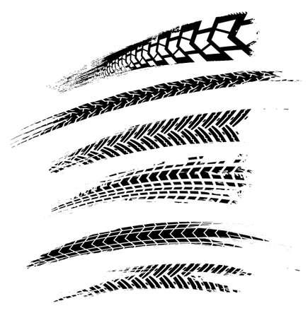 Ilustracja wektorowa ślady opon motocyklowych. Element samochodowy grunge Graficzny obraz w kolorze czarnym na białym tle.