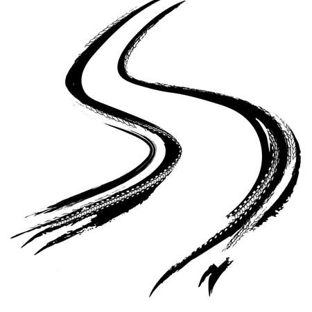 Tire Tracks Print Texture. Off-road background. Graphic vector illustration. Editable graphic image in black colour isolated on a white background.