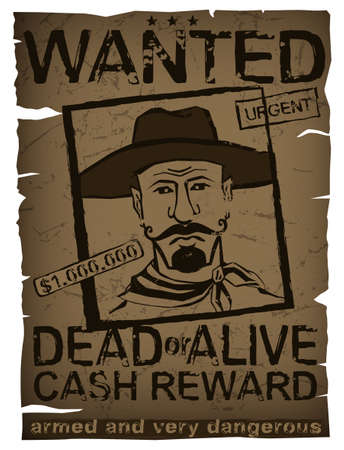 Vintage wanted poster with hand drawn grunge lettering. Stamp words made from unique letters. Beautiful vector illustration. Editable graphic element in beige, red and brown colors.