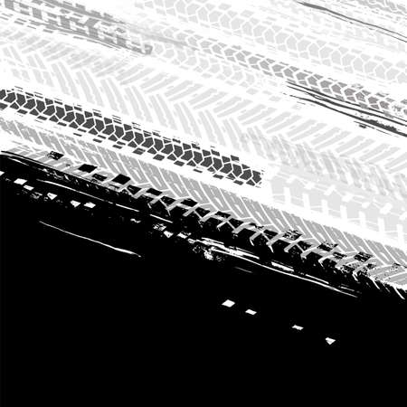 Vector automotive backdrop template. Grunge tire tracks backgrounds for landscape poster, digital banner, flyer, booklet, brochure and web design. Editable graphic image in black and white colors