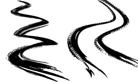 Ślady opon drukują teksturę. Tło terenowe. Graficzna ilustracja wektorowa. Edytowalny obraz graficzny w kolorze czarnym na białym tle.
