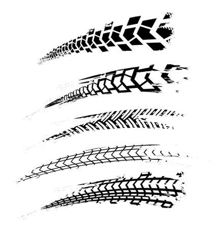 Motorcycle tire tracks vector illustration. Grunge automotive element useful for poster, print, flyer, brochure or leaflet design. Editable graphic image in black color isolated on a white background.
