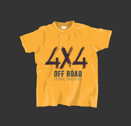 Yellow T-Shirt with off road lettering. Grunge tire track 4x4 logotype. Vector illustration useful for sweatshirt, tee-shirt print or other apparel design. Editable graphic element. Stock Illustratie