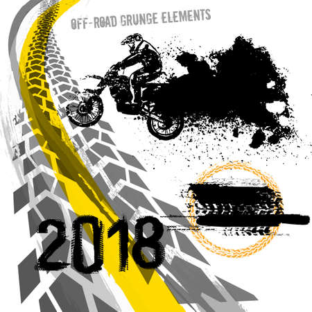 Off-road motorcycle elements useful for rally, race poster, placard, print, leaflet design.
