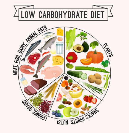 Low carbohydrate diet poster. 矢量图像