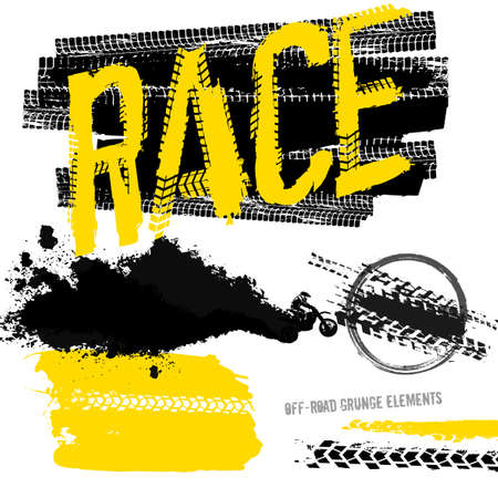 Off-road motorcycle elements useful for rally, race poster, placard, print, leaflet design. Editable vector illustration isolated on white background. Automobile collection in yellow and black color. Ilustracja