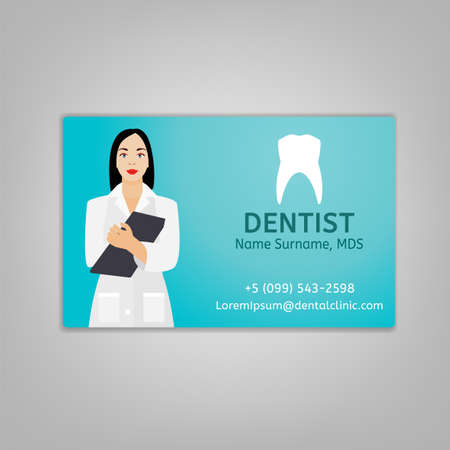 Doctors ID card with dentist image. Medical specialist badge template for medicine, emergency and healthcare industry. Vector illustration isolated on a light grey background.