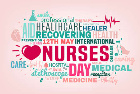International nurse day cloud of tags concept. Vector illustration in pink, green and grey colors isolated on a light background. Medical and healthcare concept. Ilustração