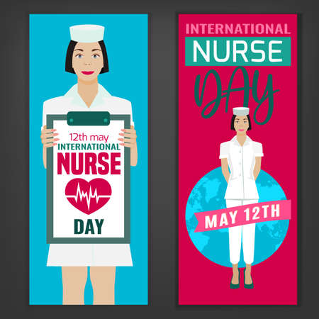 International nurse day vertical banners. Vector illustration in pink and blue colors isolated on a dark grey background. Medical and healthcare concept.
