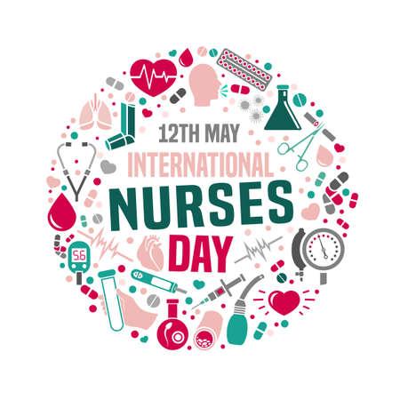 Image de la journée internationale des infirmières. Illustration vectorielle dans des couleurs roses, verts et gris isolés sur fond blanc. Concept médical et de santé.