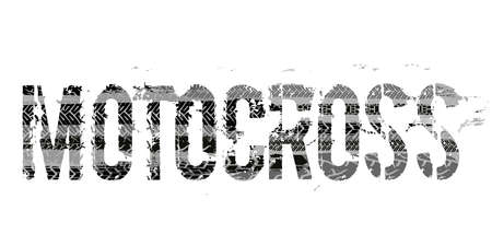Off-Road grunge moto lettering. Stamp tire word made from unique letters.  Vector illustration useful for poster, print and leaflet design. Editable graphic element in grey colours. Vettoriali