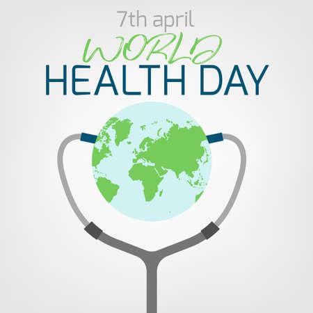 Concept de la journée mondiale de la santé. 7 avril 2018. Image de médecine et de soins de santé. Illustration vectorielle modifiable dans les couleurs vert, bleu et gris isolé sur fond blanc. Vecteurs