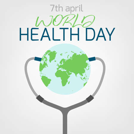 World health day concept. 7 April 2018. Medicine and healthcare image. Editable vector illustration in green, blue and grey colors isolated on a white background.