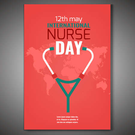May 12 International nurse day vertical poster with the world map and stethoscope image. Editable vector illustration in green and pink colors. Medical and healthcare concept.