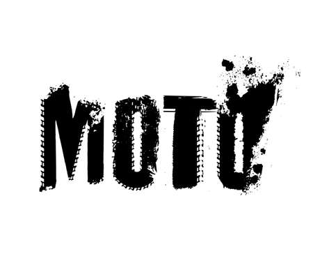 Off-Road grunge moto lettering. Stamp tire word made from unique letters.  Vector illustration useful for poster, print and leaflet design. Editable graphic element in black colour. Иллюстрация