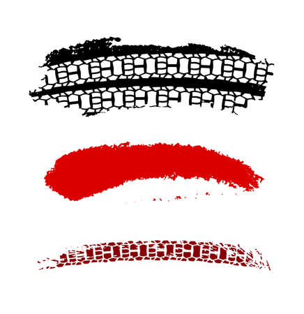 Motorcycle tire tracks vector illustration. Grunge automotive element in black and red color on a white background.