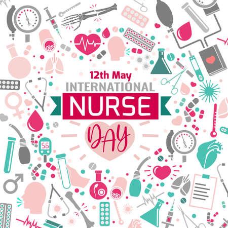 Afbeelding van de internationale verpleegstersdag. Vector illustratie in roze, groene en grijze kleuren geïsoleerd op een witte achtergrond. Medisch en gezondheidszorgconcept.