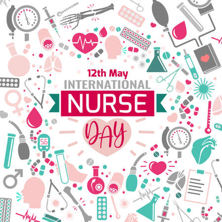 International nurse day image. Vector illustration in pink, green and grey colors isolated on a white background. Medical and healthcare concept.