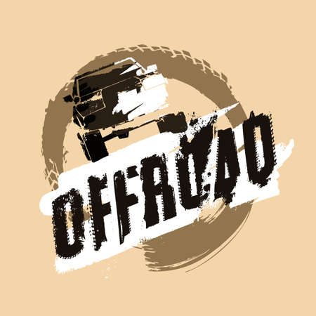 Off-road logo. Extreme competition emblem. Off-roading suv adventure and car club elements. Beautiful vector illustration with unique textured lettering isolated on a light beige background. 일러스트
