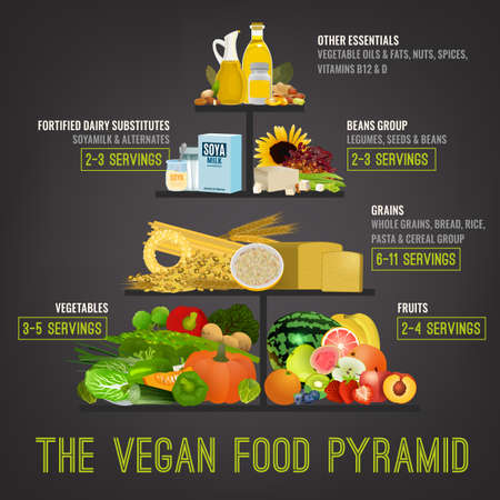 The vegan food pyramid. Vector illustration isolated on a dark grey background. Medical, healthcare and dietary poster.