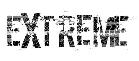 Off-Road extreme hand drawn grunge lettering. Tire tracks word made from unique letters. Beautiful vector illustration. Editable graphic element in white, grey and black colours.
