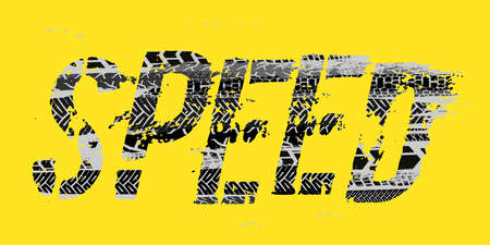 off road speed hand drawn grunge lettering on a yellow background
