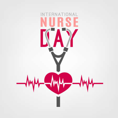 International nurse day logotype. Vector illustration in pink and grey colors isolated on a white background. Medical and healthcare concept. Stock Illustratie