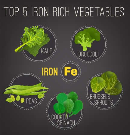 Top five iron rich vegetables - kale, broccoli, Brussels sprouts, peas and cooked spinach. Vector illustration isolated on a dark grey background.