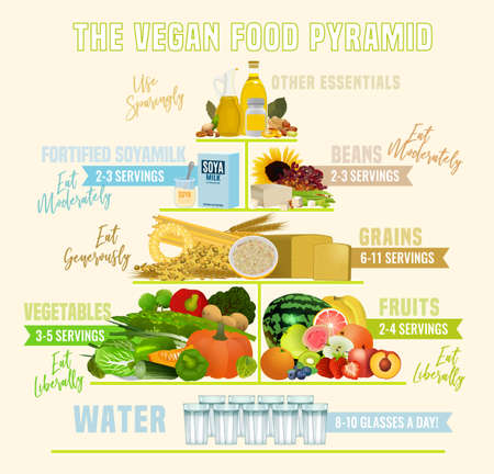 The vegan food pyramid. Vector illustration isolated on a light beige background. Medical, healthcare and dietary poster.