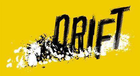 Off-Road hand drawn grunge drift lettering. Tire tracks words made from unique letters. Beautiful vector illustration. Editable graphic element in white, yellow and black colours.  Illustration