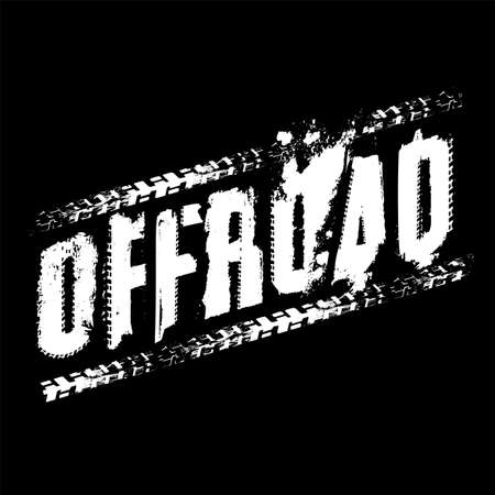Off-Road grunge tyre lettering. Tire tracks imprints word made from unique letters.  Vector illustration useful for poster, print, leaflet design. Editable graphic element in white color isolated on a black background.