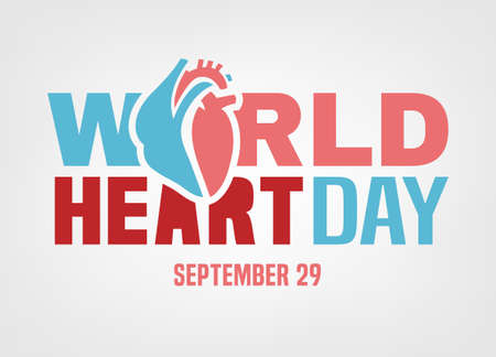 World heart day. Logotype concept. Beautiful vector illustration isolated on a white background. Editable image in light pink and blue colors Illustration