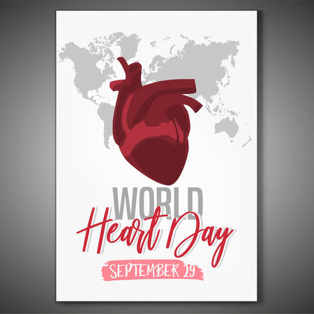 September 29 - World heart day. Vertical poster concept. Beautiful vector illustration with a map drawing on a white background. Illustration