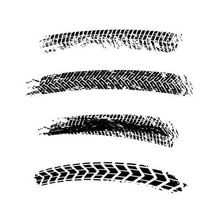 Motorcycle tire tracks vector illustration. Grunge automotive element useful for poster, print, flyer, book, booklet, brochure and leaflet design. Editable image isolated on a white background. Ilustração