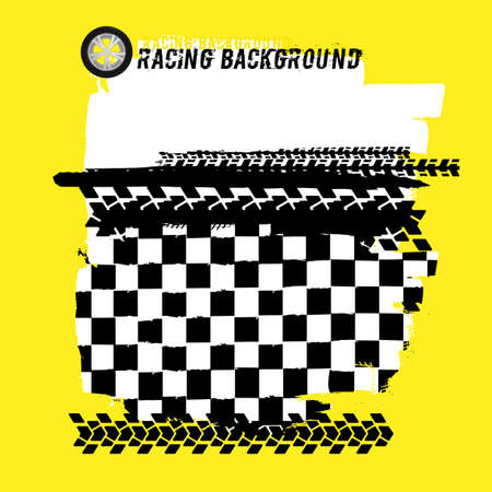 Portrait banners with checkered racing elements and a copyspace. Vector illustration in black and yellow colors. Automotive rallying concept in modern style.