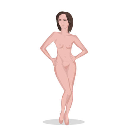 Pretty naked woman image. Posing bodybuilder. Isolated vector illustration in pink colours on white background.