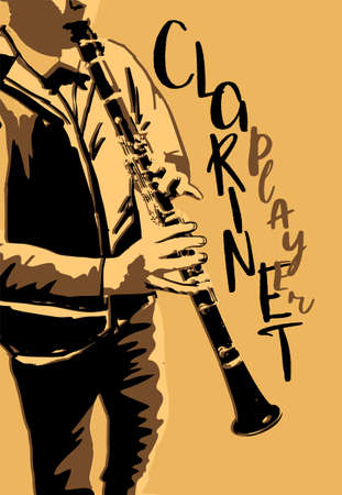 Musical image with playing clarinetist in retro style. Vector illustration in black and beige colors isolated on a white background. Illustration